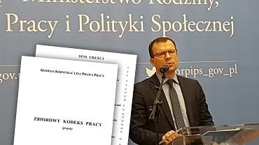 Marcin Zieleniecki, wiceminister rodziny, pracy i polityki społecznej podczas ogłaszania zakończenia prac przez Komisję Kodyfikacyjną