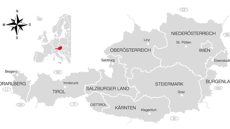 Austria - podział na regiony