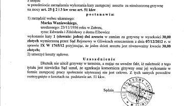 Decyzją sądu Marek Waniewski ma spędzić dzień w areszcie