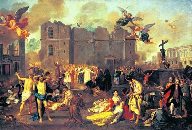 Największy dramat podczas pierwszego wstrząsu rozegrał się w lizbońskich kościołach, gdzie przebywało mnóstwo wiernych uczestniczących w mszach z okazji Wszystkich Świętych. Poprzygniatały ich pękające masywne filary. Z 40 lizbońskich świątyń aż 35 uległo całkowitemu zniszczeniu, m.in. kościół św. Katarzyny przedstawiony w głębi obrazu pędzla portugalskiego malarza Joao Glama Stroberlego (1708-92)