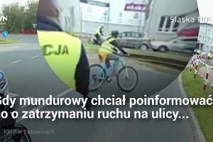 Na jednym kole z dużą prędkością potrącił policjanta. Trwają poszukiwania motocyklisty
