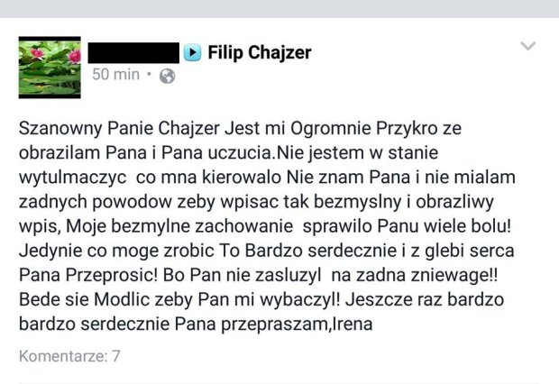 Wpis na profilu Filipa Chajzera