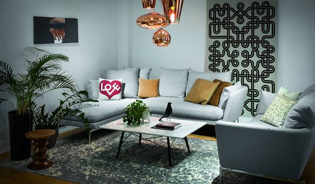 Sofa Suita, Vitra,  stolik Eames Coffee Table, Vitra, dywan Boheme 196, Sirecom