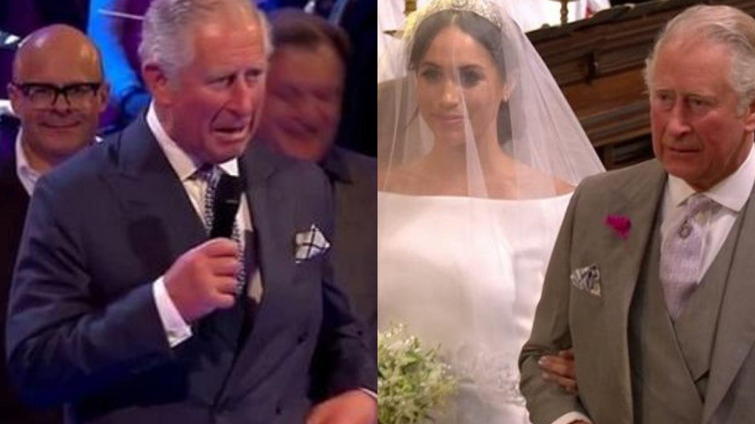 Książę Karol pokusił się o żartobliwą przemowę na weselu. Goście rozbawieni, ale Harry'emu raczej nie było do śmiechu