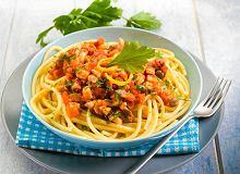 Spaghetti z pomidorami, tuńczykiem i rukolą - ugotuj