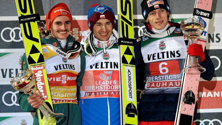 Podium konkursu w Oberstdorfie: Richard Freitag, Kamil Stoch i Dawid Kubacki
