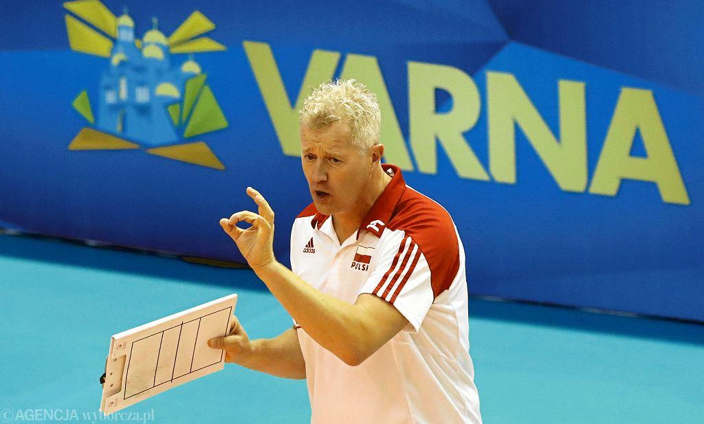 Trener Vital Heynen podczas meczu Polska - Kuba. Mistrzostwa Świata w Piłce Siatkowej Mężczyzn 2018, Bułgaria, Warna, 12 września 2018