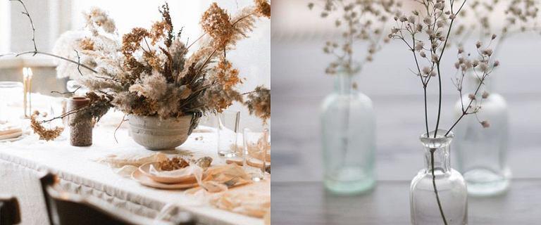Jesienne kompozycje z suszonych kwiatów i pasujące wazony