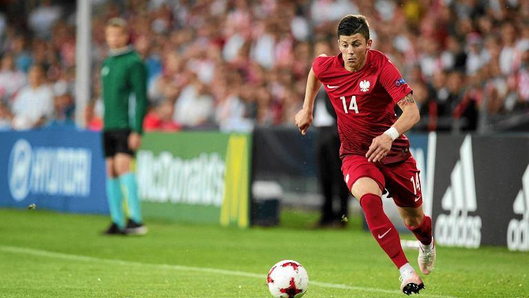 Dawid Kownacki w meczu reprezentacji Polski do lat 21 z Anglią
