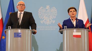 Wiceszef KE, Frans Timmermans, po spotkaniu z premier Beatą Szydło