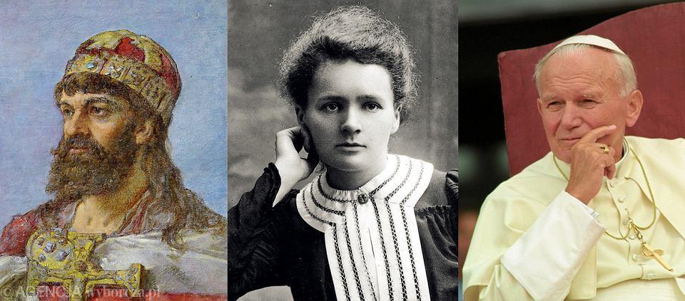 Mieszko I, Maria Curie-Skłodowska, Jan Paweł II