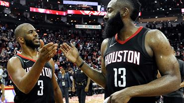 Houston Rockets guard Chris Paul (3) and James Harden