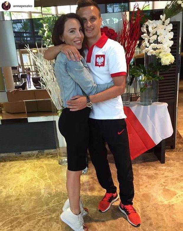 Sławomir Peszko z żoną Anną