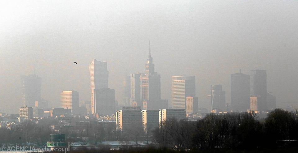 Smog w Warszawie 9 stycznia 2017 roku
