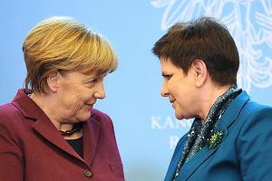 Kanclerz Angela Merkel i premier Beata Szydło, w czasie konferencji prasowej w Warszawie w lutym 2017 r.