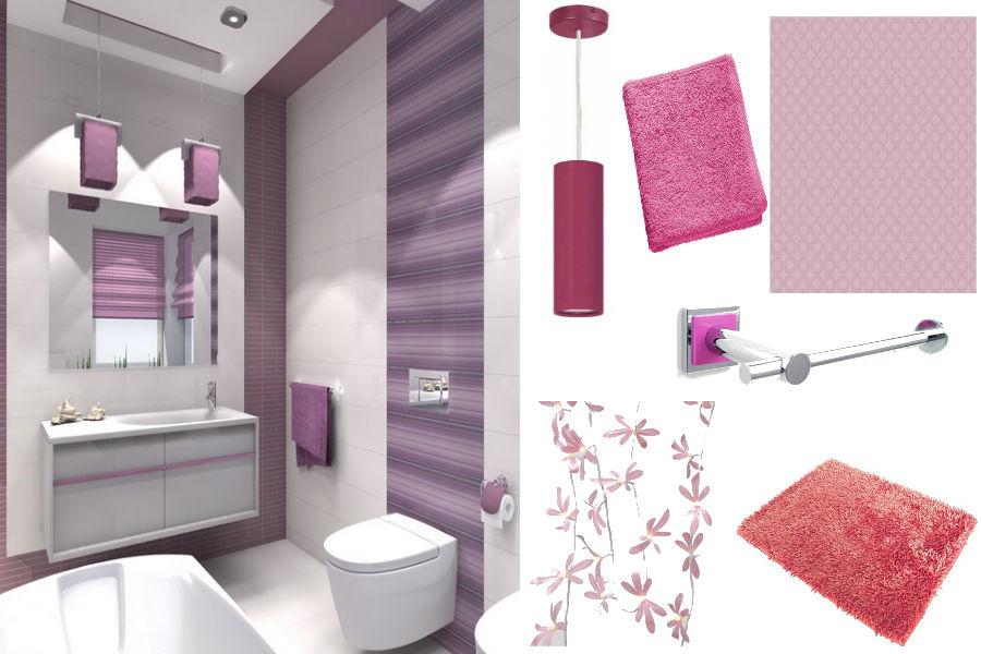 Łazienka w romantycznym stylu, różowa łazienka