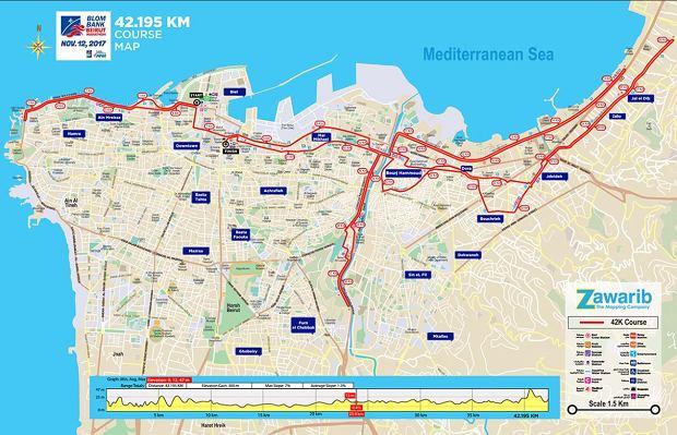 Trasa Maratonu w Beirucie