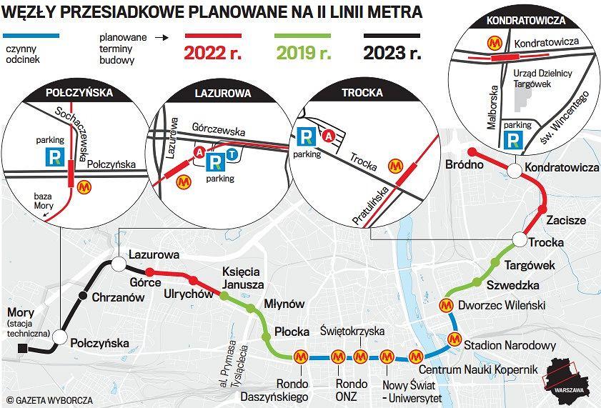metro warszawa mapa Druga linia metra. Nowa lokalizacja końcowych stacji i lepsze