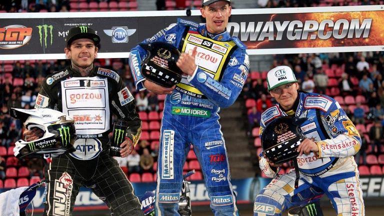 Podium Grand Prix w Tampere. Od lewej: Tai Woffinden, Matej Zagar i Fredrik Lindgren