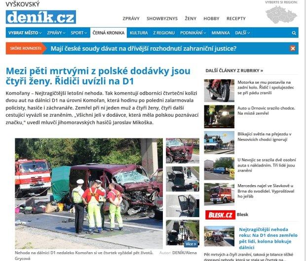 Wypadek busa z Polakami na czeskiej autostradzie. Pi�� os�b nie �yje