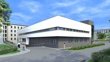 Wizualizacja nowego pawilonu szpitalnego, który powstanie przy ul. Zegadłowicza w Sosnowcu