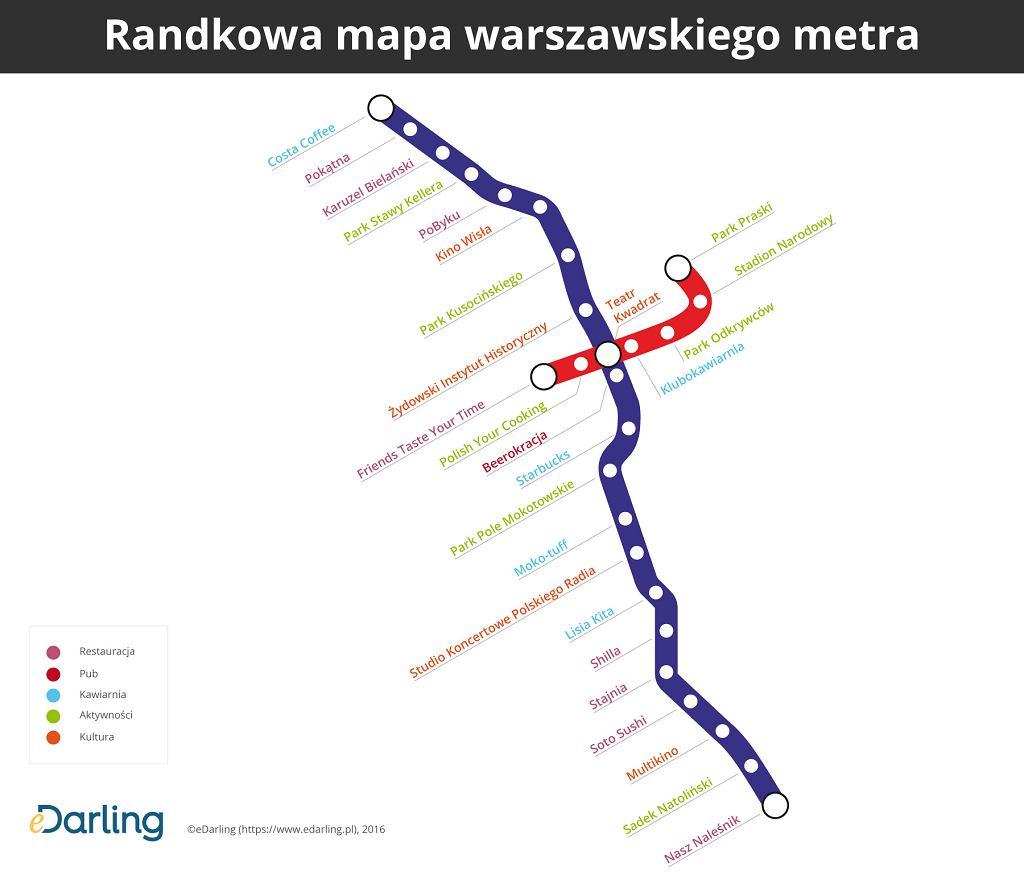 metro warszawa mapa Powstała randkowa mapa dla singli podróżujących metrem [MAPA