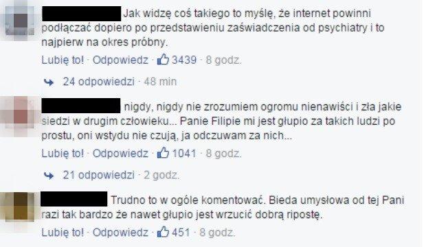 Komentarze z Facebooka Filipa Chajzera