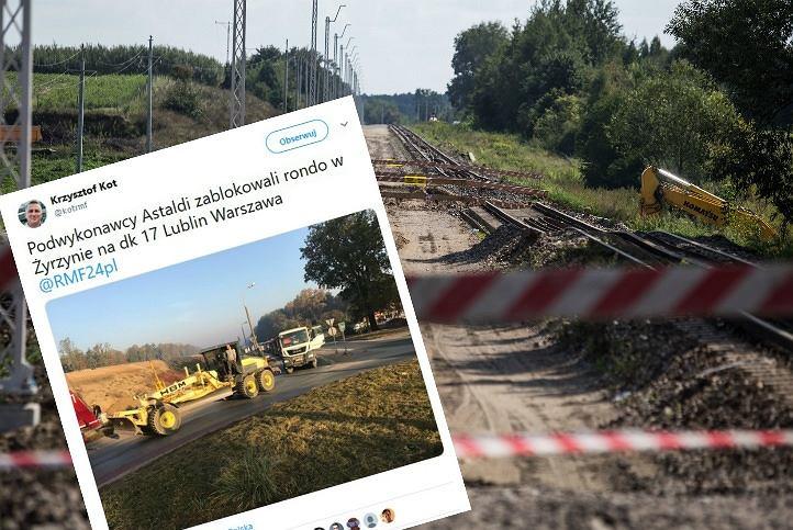 Podwykonawcy Astaldi blokują drogę Warszawa - Lublin