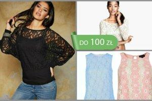 Koronkowe bluzki, topy i koszulki do 100 z�