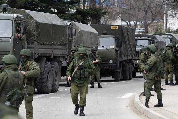 Rosyjskie wojska w Bałakławie na Krymie. Zdjęcie z roku 2014