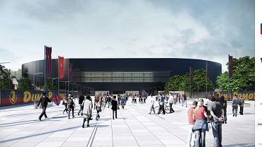 Zmieniony projekt stadionu Pogoni. Widok z głównym wejściem od strony ul. Twardowskiego
