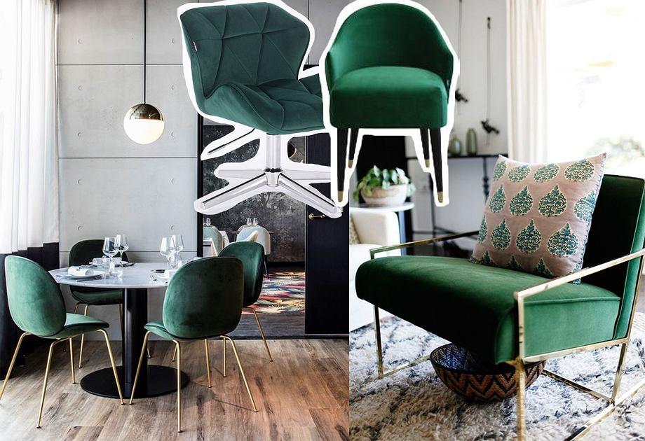 Fotel w kolorze butelkowej zieleni