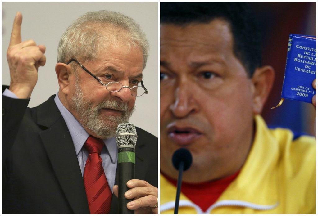 B. prezydent Brazylii Lula da Silva i nieżyjący b. prezydent Wenezueli Hugo Chavez (fot. Fernando Llano/Eraldo Peres/AP)