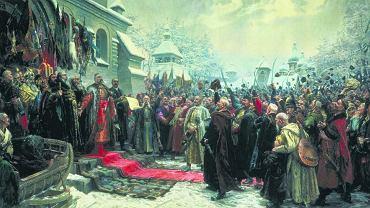 'Rada perejasławska', obraz pędzla Mychajla Chmielki. 18 stycznia 1654 r. w Perejasławiu Bohdan Chmielnicki i wojsko zaporskie złożyli przysięgę na wierność carowi. Jednak ugoda perejasławska, jak wskazuje prof. Jarosław Hrycak, była tylko jednym z wielu porozumień, jakie Chmielnicki i jego następcy musieli zawierać, aby utrzymać się przy władzy. Ideolodzy wielkoruscy i radzieccy uznawali ugodę perejasławską za symbol 'jedności bratnich ludów'.
