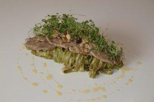 Makaron tagliatelle w sosie z pol�dwiczkami wieprzowymi i gorgonzol�