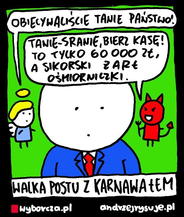 Andrzej Rysuje   WALKA POSTU Z KARNAWAŁEM - Andrzej Rysuje, 15.02.2018 -