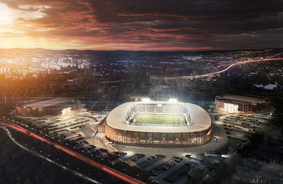 Wizualizacja Zagłębiowskiego Parku Sportowego: po lewej lodowisko, w środku stadion piłkarski i hala po prawej