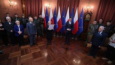 Spotkanie premiera rządu PiS Mateusza Morawieckiego ze Sprawiedliwymi Wśród Narodów Świata. Warszawa, KPRM, 26 lutego 2018
