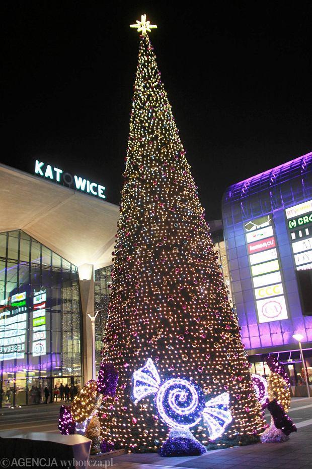 06.12.2013 Katowice . Choinka na Placu Szewczyka .  Fot . Dawid Chalimoniuk  /  Agencja Gazeta   SLOWA KLUCZOWE: choinka