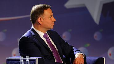 Prezydent Andrzej Duda podczas uroczystego otwarcia XXVII Forum Ekonomicznego. Krynica, 5 września 2017