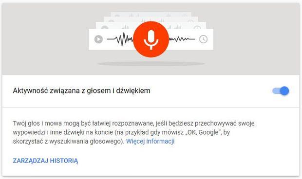 Rejestracja głosu i dźwięku w Google