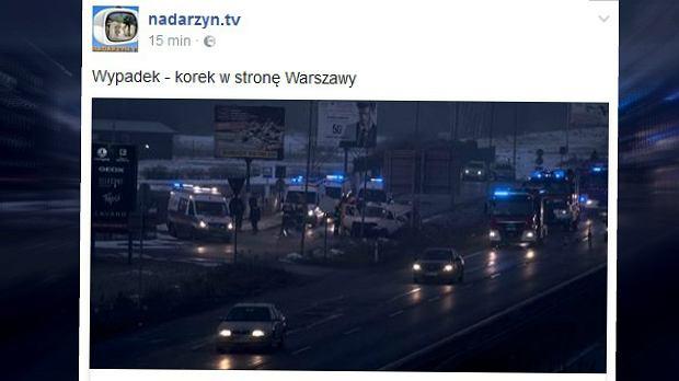Wypadek busa pod Nadarzynem. Osiem osób zostało rannych