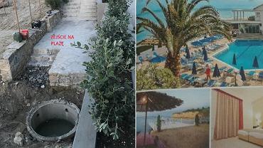 Tak wyglądał teren hotelu w rzeczywistości (zdjęcie z lewej) i w prospekcie biura podróży (z prawej)