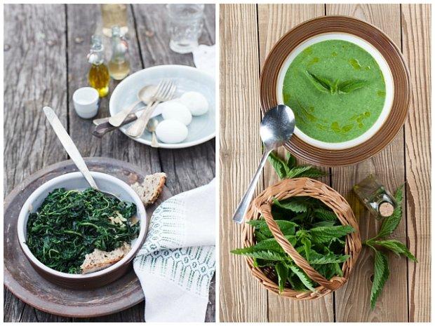 Potrawy z pokrzywy: po lewej stronie sałatka z duszonej pokrzywy; po prawej stronie zupa krem z pokrzywy
