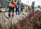 Pracownicy na zlecenie ZOM sprzątają warszawskie ulice