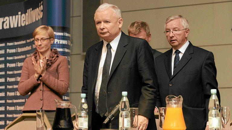 Beata Gosiewska, Jarosław Kaczyński i Krzysztof Lipiec podczas spotkania w Kielcach, 20 czerwca 2013 r.