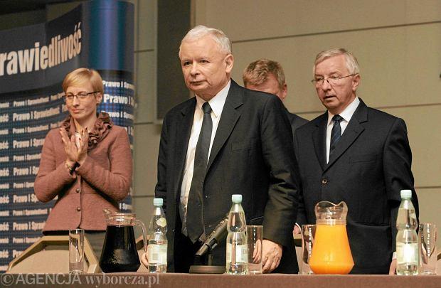 Beata Gosiewska, Jaros�aw Kaczy�ski i Krzysztof Lipiec podczas spotkania w Kielcach, 20 czerwca 2013 r.