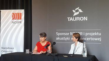 Joanna Wnuk-Nazarowa i Ewa Bogusz-Moore na konferencji prasowej w NOSPR