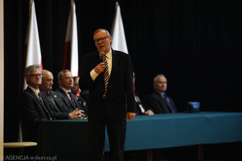 Wacław Berczyński podczas konferencji podczas konferencji podkomisji.