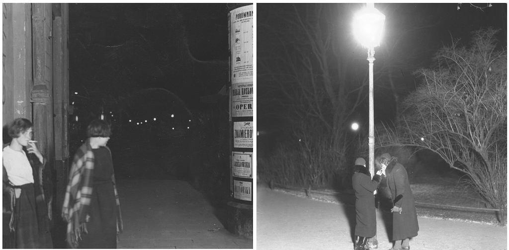 Po lewej prostytutki na ul. Marszałkowskiej w Warszawie, 1925 r. Po prawej panie lekkich obyczajów oczekujące na klientów na krakowskich Plantach, 1934 r. (fot. Narodowe Archiwum Cyfrowe)